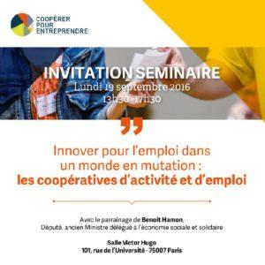 """Invitation au séminaire """"Innover pour l'emploi dans un monde en mutation"""""""